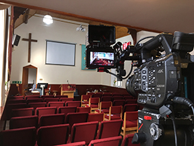 Funeral / Thanksgiving service live TV video relay onto Plasma LCD screens in other rooms - Filming services