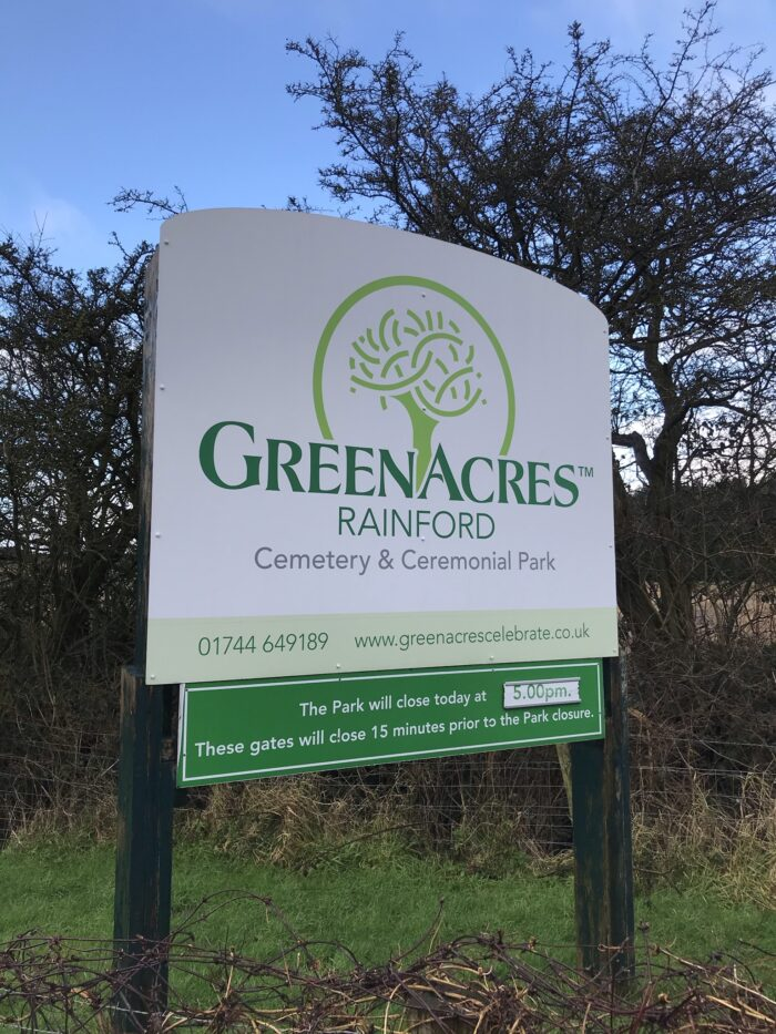 Sign Funeral Filming Live Streaming at GreenAcres Cemetry Rainford St. Helens Merseyside