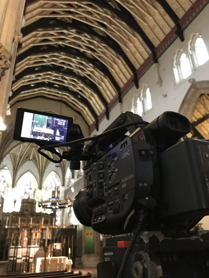 Live Streaming Webcasting Funeral Service Videography at Lancaster Cathedral, Lancashire